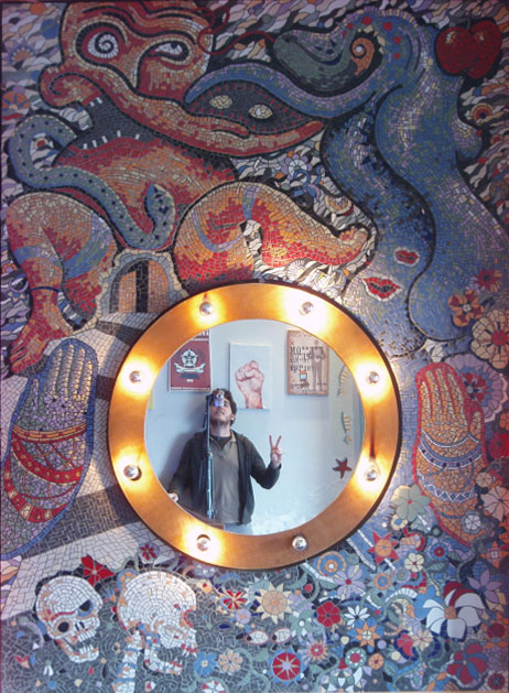 mosaic in Boheme del mar (the best bar) in Syros island in Cyclades