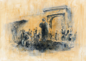 lepers in front of st George's gate, 1/12 -original in possession of Lato Boutique Hotel, Heraklion, Greece)