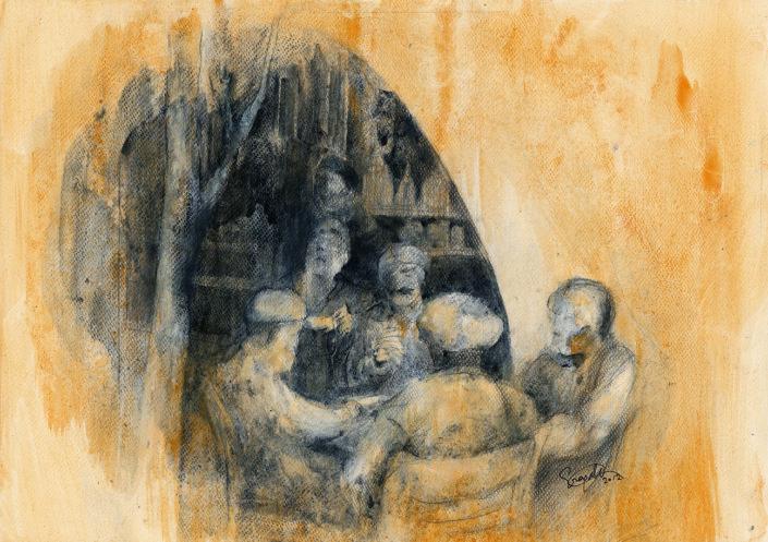 men at a coffeeshop, 5/12 -original in possession of Lato Boutique Hotel, Heraklion, Greece)